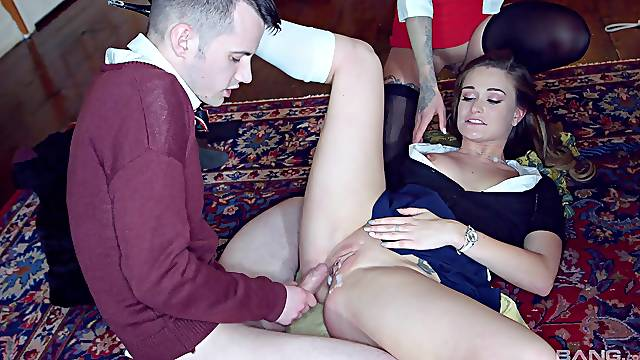 Brittany Bardot and other girls love riding a hard cock together