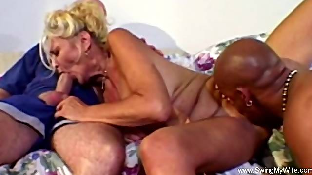 Interracial Threesome For Bored Blonde Swinger Wife