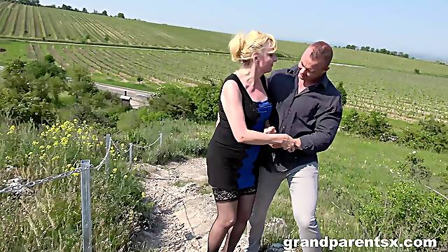 Wild outdoors threesome with a girlfriend and an older chick