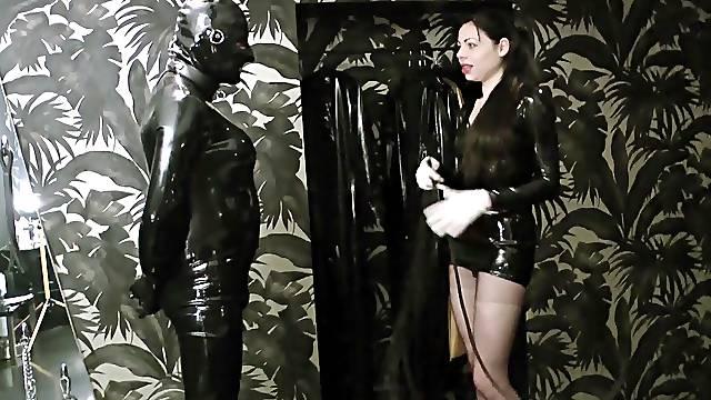 Lady ashley degrading and fucks 2 rubber slaves at human toilet
