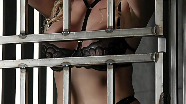 Blonde pornstar Adira Allure tied up and fucked hard by a stud