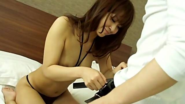 Good looking Maika with small tits wearing thong gets fucked