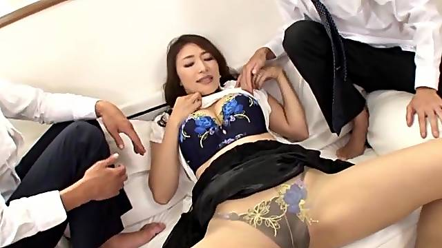 Japanese MMF threesome with lovely Kobayakawa Reiko in HD