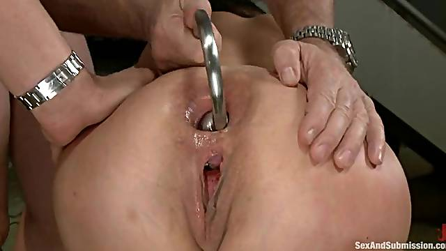 Alysa is being double penetrated in a wild BDSM