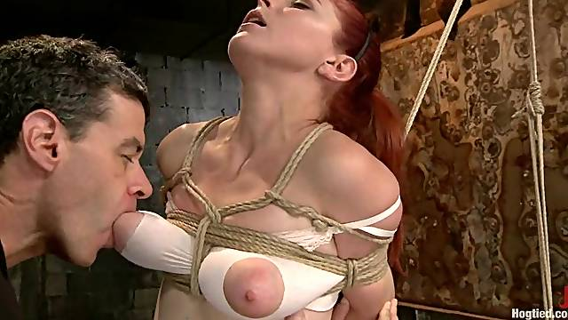 Submissive Penny Pax gets tied up and toyed in both holes