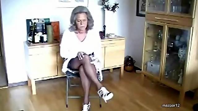 Slutty Blonde Granny Rubs Her Hot Body Wearing Sexy Nylon Stockings