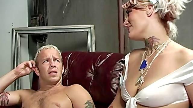A black guy fucks a white wife in a kinky cuckold scene