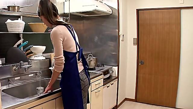 Japanese wife is fondled,gives blowjob and ravished Hardcore in kitchen