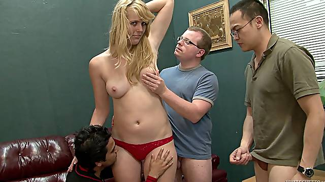 Tattooed blonde with a hairy pussy enjoying an awesome gangbang
