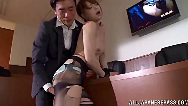 In the office this businessman fucks a Japanese MILF