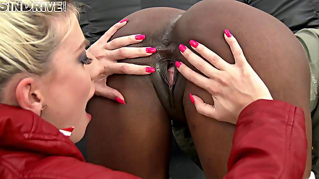 Nice ass lesbian sex dolls enjoy a spicy interracial action