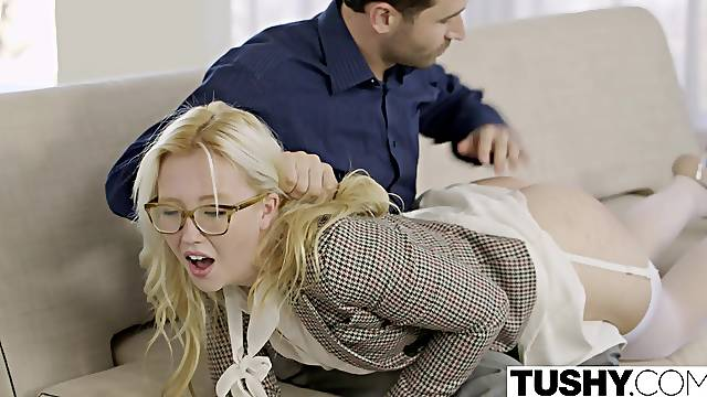 First Anal For Blonde Babe Samantha Rone
