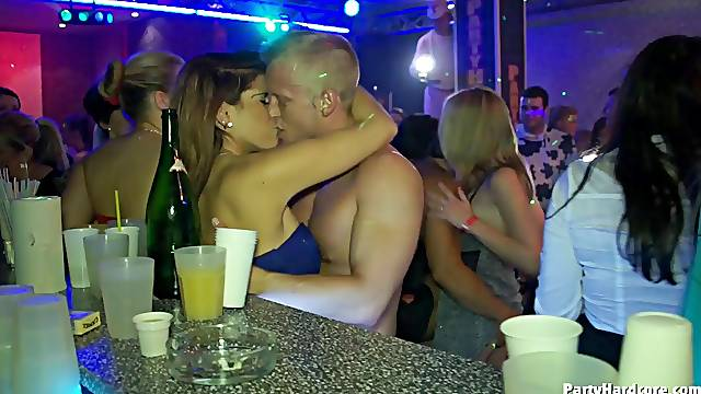 These sluts are never getting enough of fucking several thick dongs in the club