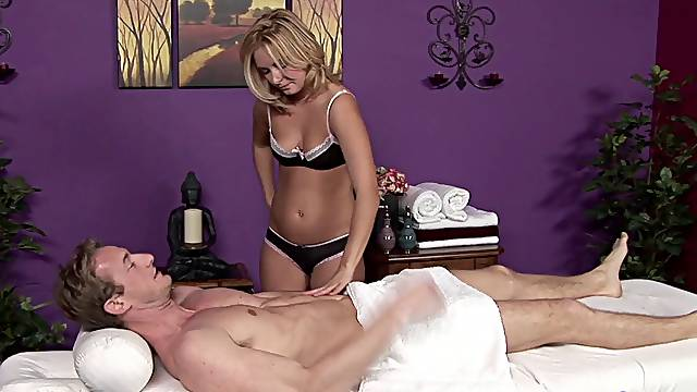 When the massage is over, this guy eats the massage girl's pussy