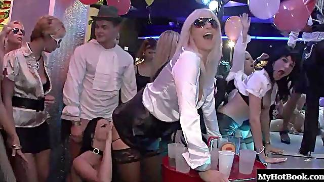 Drunkard blonde cock riding hardcore in an orgy group sex