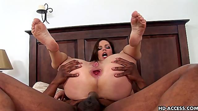Gaping Bobbi Star anal widened hardcore in interracial porn