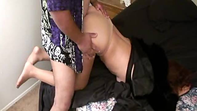 Businesswoman in pantyhose gets abused