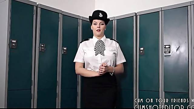 Hot brunette in uniform only police business