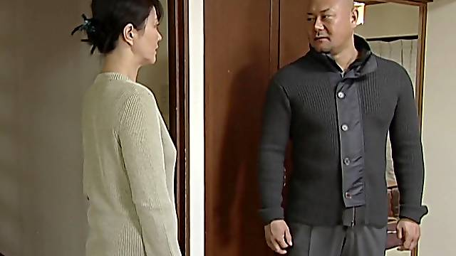 Horny Japanese husband undressing and fucking his lusty wife