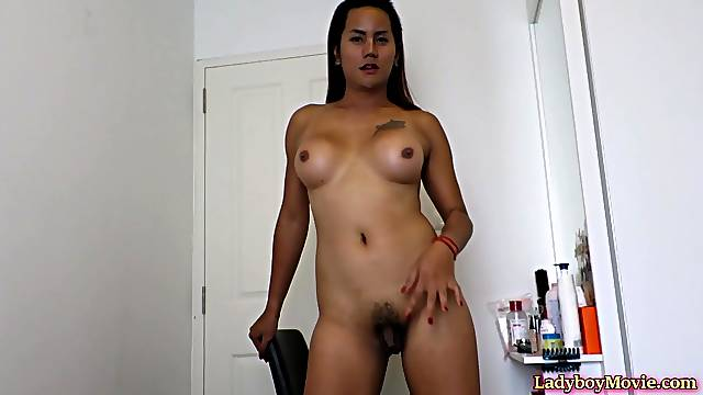Amateur Thai shemale named Looktom makes up in front of the mirror