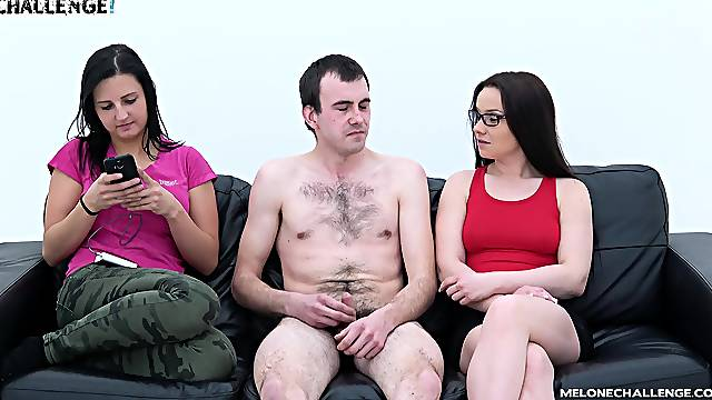 Wendy Moon agrees to suck a friend's fat dick on the couch