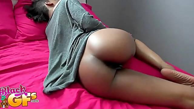 Ebony slut Ajaa xxx gets a cumshot on her big round ass after fucking