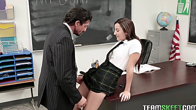 Jade Amber bent over a desk and fucked until she gets cum on her face