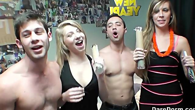 Kaylee Banks and Moriah Tyler share a cumshot at a wild college orgy