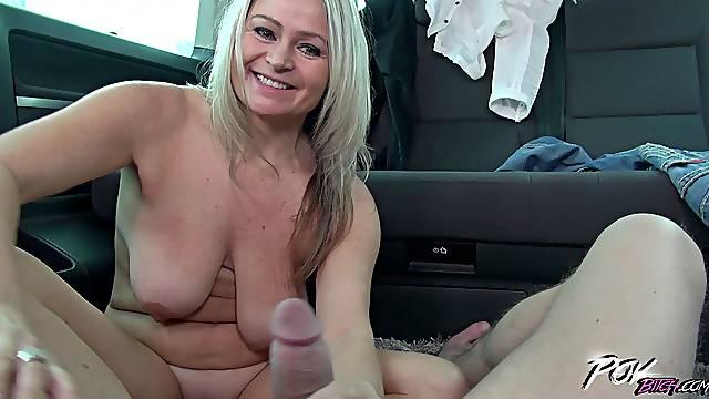 Mature busty blonde MILF Zaira Connor rides a fat dick in a car