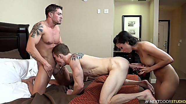 Lola Castillo abducted and gets cum on ass in a MMF threesome