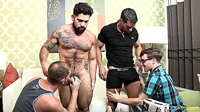 Hardcore gay foursome with nerdy tattooed bearded guys