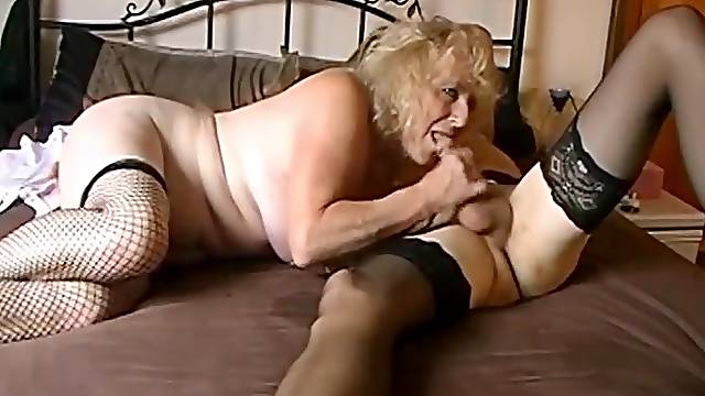 Grandmas homemade film with two mature crossdressers