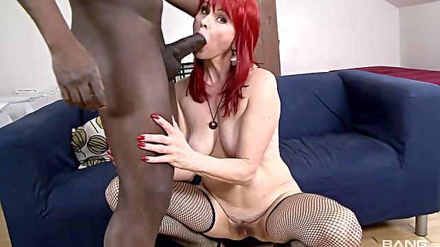 Big black cock for a mature redhead in high heels Amanda Rose