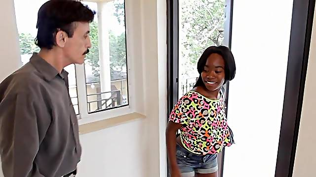 Ebony MILF Gucci fucks a white cock with her shoes on
