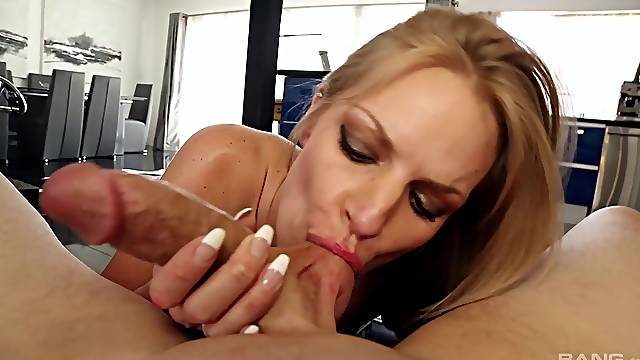 Ball licking and cock riding with busty Rachael Cavalli