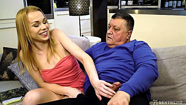 Teen blonde seductress Rebecca Black gets herself an old cock to ride