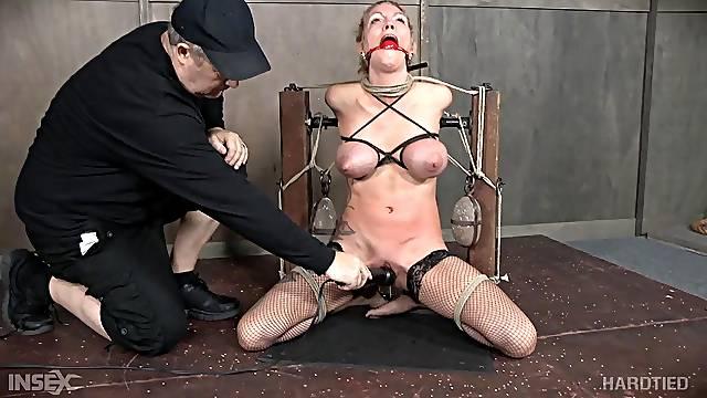 Blonde amateur slut Rain DeGrey choked and abused in bondage