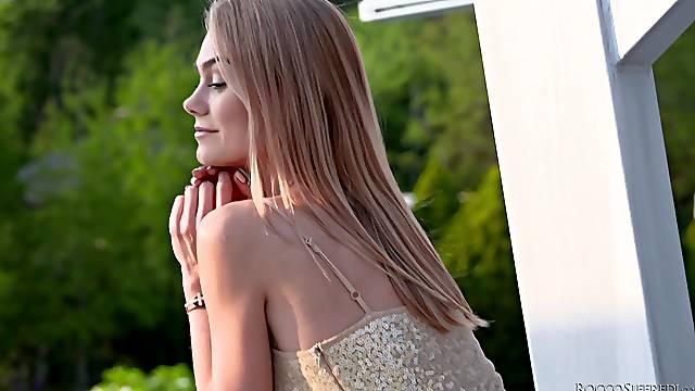 Beautiful blonde teen Nancy Ace gets a facial cumshot close up
