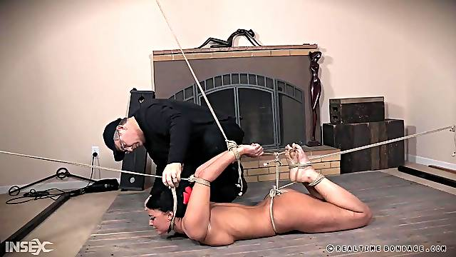 London River gets strapped to the floor and abused hardcore
