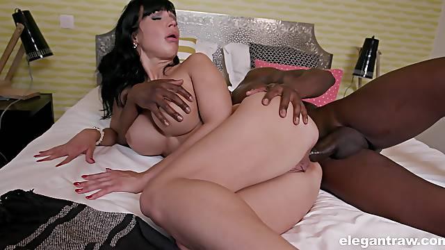 Bombshell brunette babe Valentina Ricci impaled by a big black dick