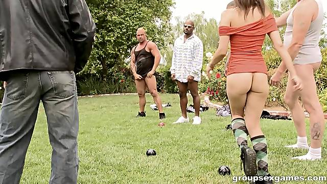 Playing sex games ends with an interracial gangbang for Amber Rayne