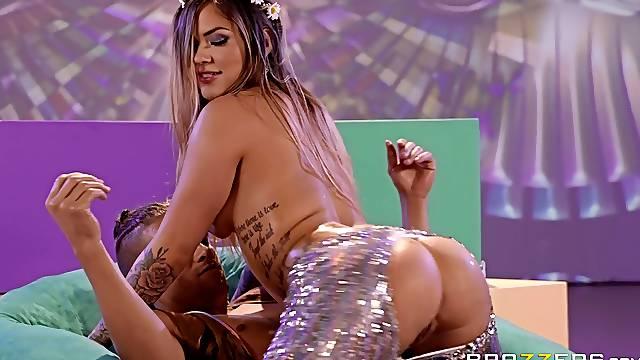 Disco slut Karmen Karma pounded in shiny pants and cum sprayed