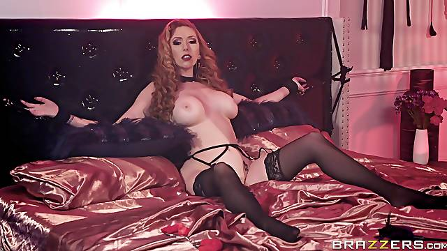 Kinky MILF redhead Lauren Phillips handcuffed and missionary fucked