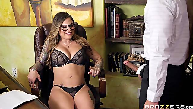 Karmen Karma caught masturbating in the office and gets a huge facial