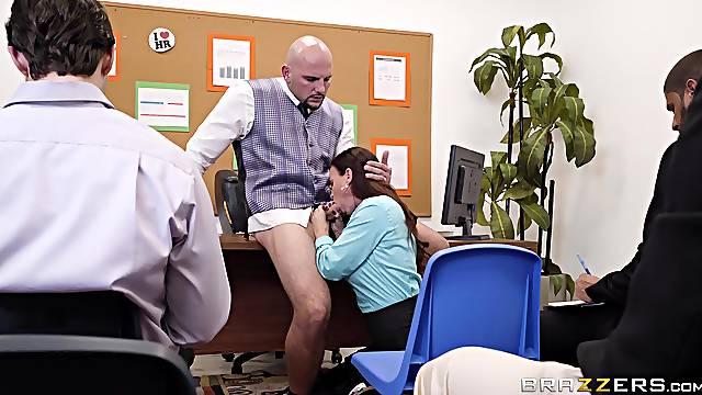 Brunette bombshell MILF secretary Diamond Foxxx swallows cum in office