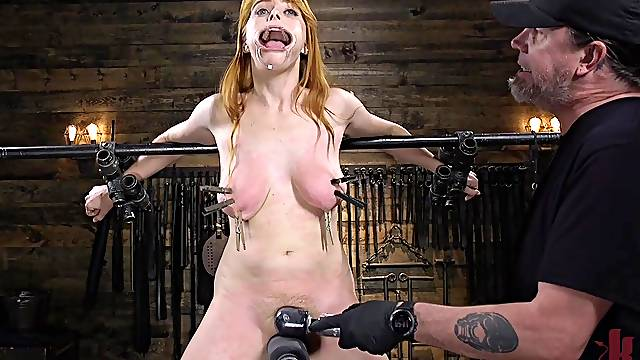 Penny Pax strapped in and abused with big toys and a cock