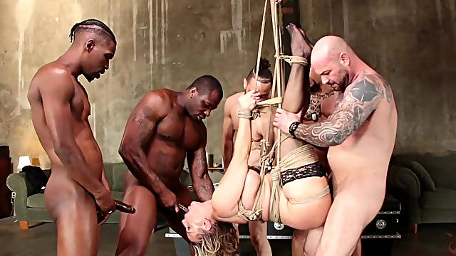 Blonde MILF Angel Allwood tied up and gangbanged hardcore