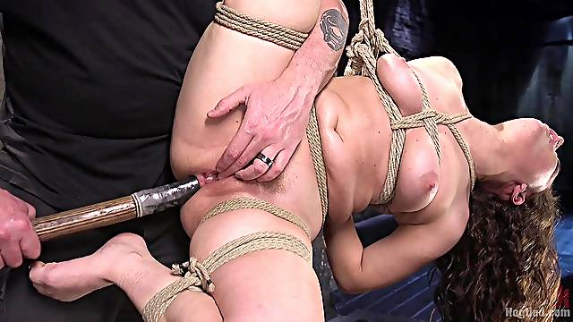 Brunette amateur babe Gabriella Paltrova tied up and abused hardcore