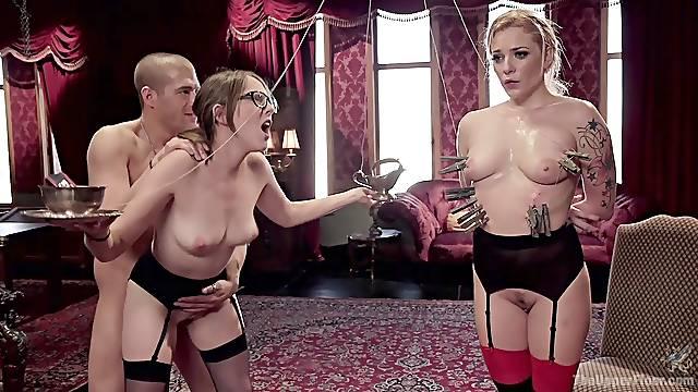 Before hardcore threesome Nickey Huntsman enjoys a BDSM game