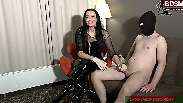 german big tits tattoo milf handjob with slave